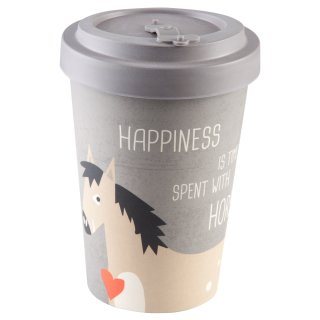 """Coffe to go Becher Bambus """"Happiness & Horses"""""""